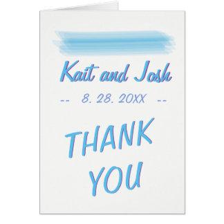Minimalist mjukt tack för Ambianceblåttvattenfärg Hälsningskort