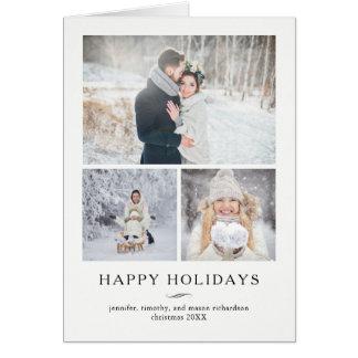 Minimalist modern glad helg | tre foto hälsningskort