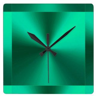 Minimalist modern metallisk grönt fyrkantig klocka