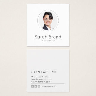 Minimalist personligt foto fyrkantigt visitkort