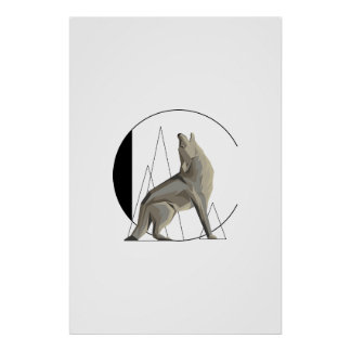 Minimalist prärievarg-/för varg C affisch