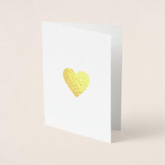 minimalist romantisk kärlekhjärta folierat kort