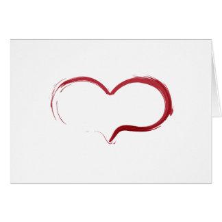 Minimalist rött hjärtaCalligraphykort - jul Hälsningskort