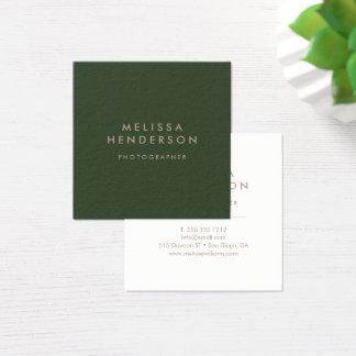 Minimalist yrkesmässig modern grönt fyrkantigt visitkort