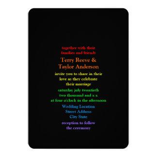 Minimalistic Regnbåge-Färgat stilsortsbröllop 12,7 X 17,8 Cm Inbjudningskort