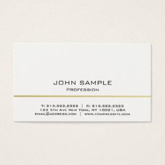 Minimalistic yrkesmässig modern vit och guld visitkort