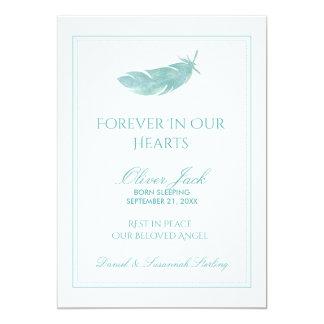 Minnes- för evigt för baby i vår blåttfjäder för 12,7 x 17,8 cm inbjudningskort