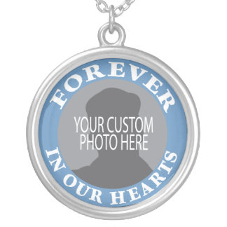 Minnes- för evigt i vårt hjärtaanpassningsbarfoto silverpläterat halsband