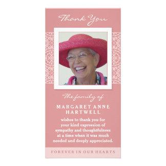 Minnes- fotokort för elegantt rosa tack