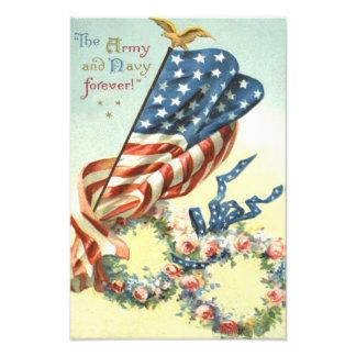 Minnesdagen för blomma för kran för US-flaggaörn Fototryck