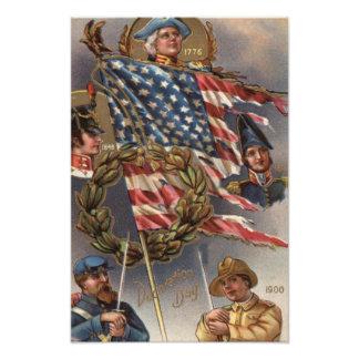 Minnesdagen för militär för US-flaggakran Fototryck
