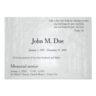 Minnesgudstjänst- eller begravninginbjudan 12,7 x 17,8 cm inbjudningskort
