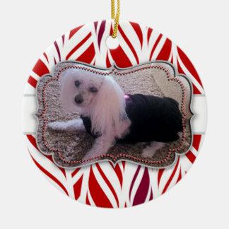 Minnesmärke för foto för Candycane Rund Julgransprydnad I Keramik