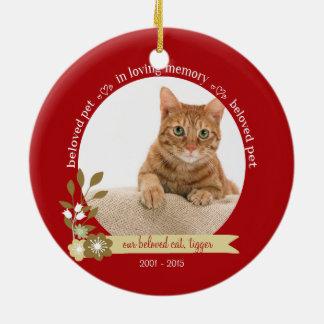 Minnesmärke för husdjur på det beställnings- julgransprydnad keramik