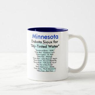 Minnesota symboler & karta Två-Tonad mugg