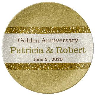 Minnessak för bröllopsdag för glitterguld 50th tallrikar i porslin