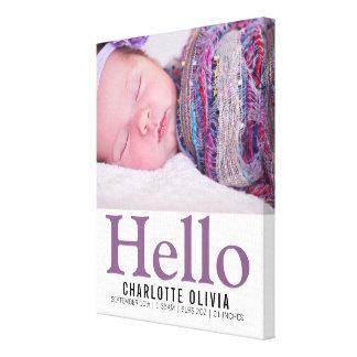 Minnessak för personlig för hejnyfödd bebis canvastryck