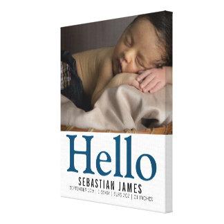 Minnessak för personlig för hejnyfödd bebispojke canvastryck