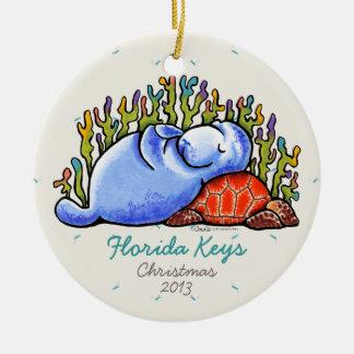 Minnessak för semester för Manateehavssköldpadda Rund Julgransprydnad I Keramik