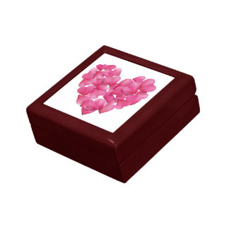 Minnessaken boxas med rosa petalshearts. smyckeskrin