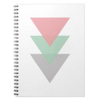 Minsta pastell färgad Trio av trianglar Anteckningsbok