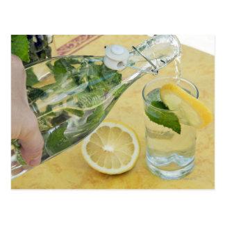(Mint-fyllt) hällande vatten för person in i ett Vykort