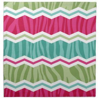 Mint, grönt och magentafärgad rosa zebra ränder tygservett