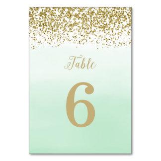 Mint och guld som gifta sig bordsnummerkortet bordsnummer