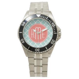 Mint och korall Quatrefoil med den beställnings- Armbandsur