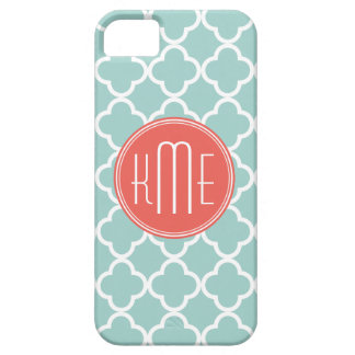 Mint och korall Quatrefoil med den beställnings- iPhone 5 Cases