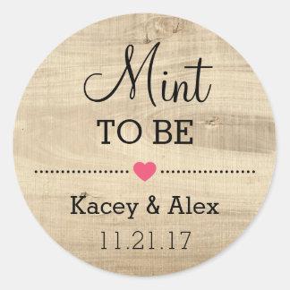 Mint som är lantliga Wood bröllopfavörer för Runt Klistermärke