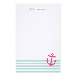 Minten & rosa nautiska randar och gulligt ankrar stationär