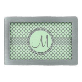 Mintgrönt med grå färgPolkaPricka-Monogramen