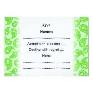 Mintgrönt och limefrukt gröna Paisley. 8,9 X 12,7 Cm Inbjudningskort