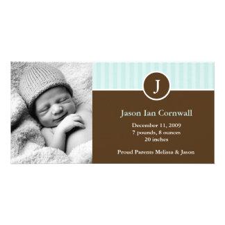 MintMonogram och randtillkännagivande för födelse Fotokort