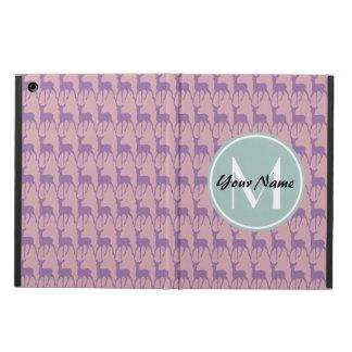MintMonogramlila och rosahjortpersonlig N1 iPad Air Fodral
