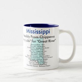 Mississippi symboler & karta Två-Tonad mugg