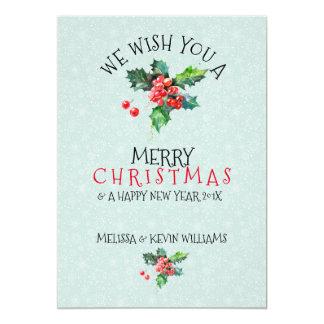 Mistletoen önskar vi dig god jul 12,7 x 17,8 cm inbjudningskort