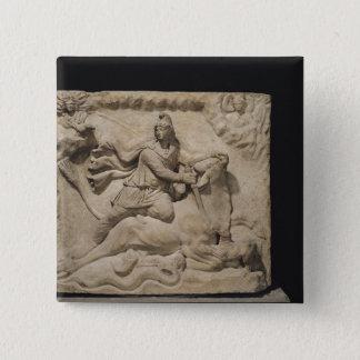 Mithras som offrar tjuren, 2nd-3rd århundrade standard kanpp fyrkantig 5.1 cm