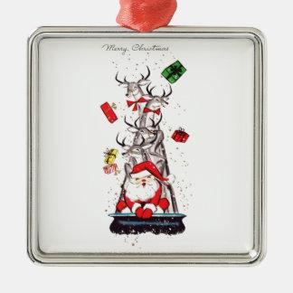 Mitt- århundrade Santa för härlig vintage & ren Silverfärgad Fyrkantigt Julgransprydnad