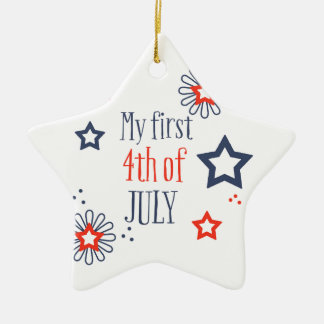 Mitt första 4th Juli Julgransprydnad Keramik