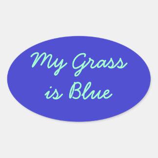 Mitt gräs är blått ovalt klistermärke