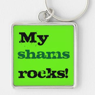 Mitt hycklar stenar fyrkantig silverfärgad nyckelring