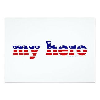 Mitt patriotiska rött vitt blått för hjältestars 12,7 x 17,8 cm inbjudningskort