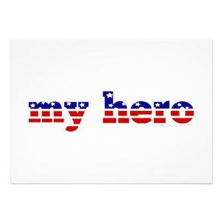 Mitt patriotiska rött vitt blått för hjältestars o kort för inbjudningar