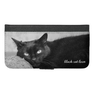 Mitt svart fodral för plånbok för kattfotoiPhone
