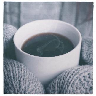 Mittens och kaffekopp tygservett