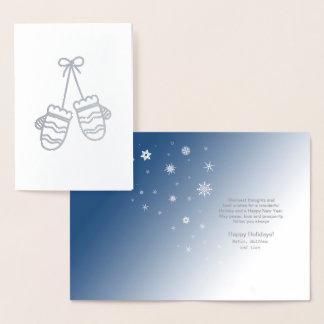 Mittens och snöflingorsilver ID427 Folierat Kort