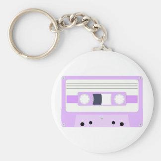 Mixtape - pastellfärgad lila rund nyckelring