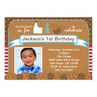 Mjölk och kakafödelsedagsfest inbjudanfoto 12,7 x 17,8 cm inbjudningskort